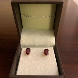 Ross-Simons oval garnet 14k gold stud earrings NEW